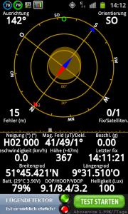 Screenshot von der App GPS Status für Android