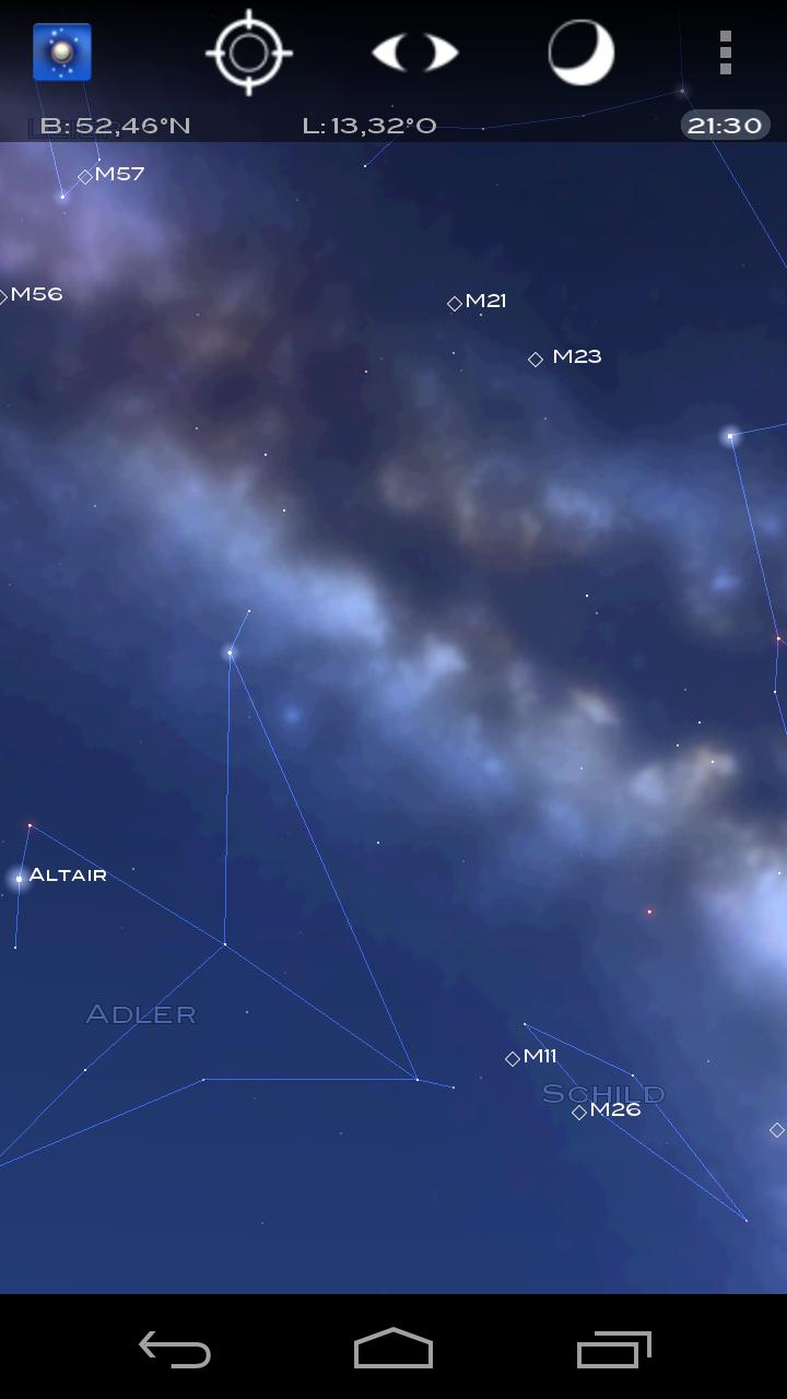 Android App Star Chart der Sternenhimmel im Blick