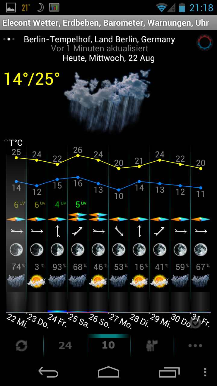 android app eweatherhd wie wird das wetter in den. Black Bedroom Furniture Sets. Home Design Ideas