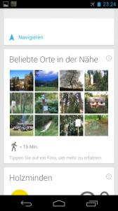 Google Now Beliebte Orte in der Nähe Screenshot