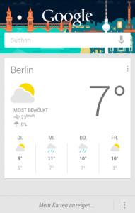Google Now Info Karte Wetter