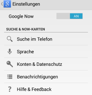 Google Now Einstellungen