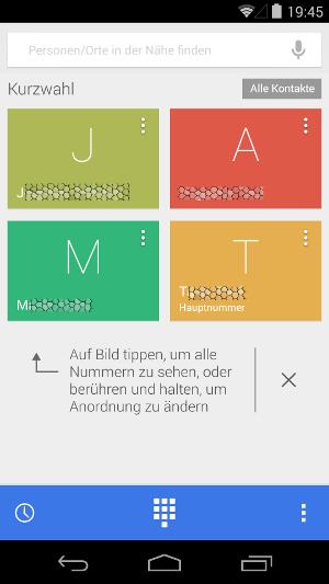 Android 4.4.3 KitKat Dialer Telefon Oberfläche