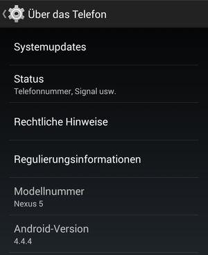 Android 4.4.4 KitKat Update Google Nexus Modelle