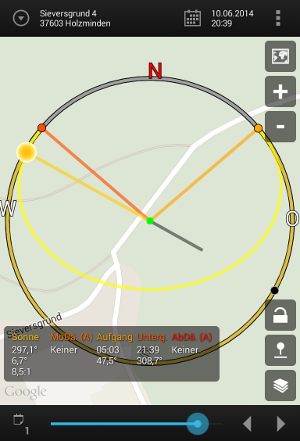 Android App Sun Surveyor Kartenansicht
