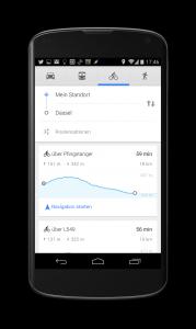 android app google maps 8.2 fahrrad navigation höhenprofil