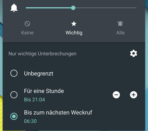 Android 5.1 Lollipop wichtige Unterbrechungen bis zum nächsten Weckruf