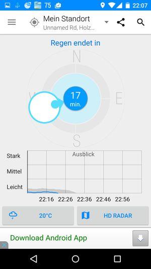 Android App Raintoday Regenradar