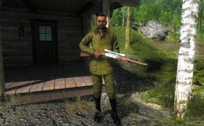 The Hunter: Kipplaufbüchse 7 mm Bouquetin, Pistolen-Zielfernrohr, Entenlockmittel, Gänselockmittel, Markierungsflaggen